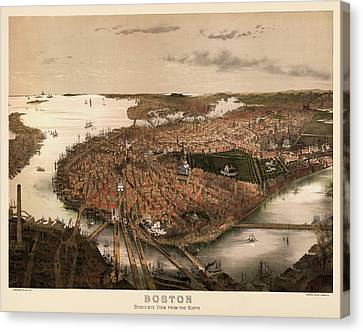 Antique Map Of Boston Massachusetts By John Bachmann - Circa 1877 Canvas Print