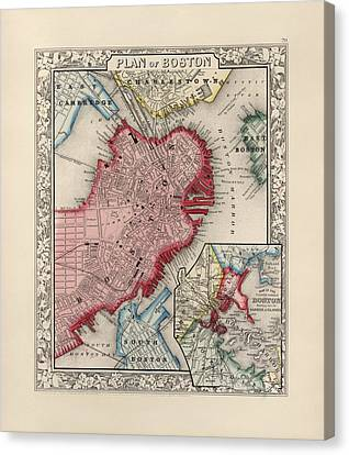 Antique Map Of Boston Massachusetts By Samuel Augustus Mitchell - 1863 Canvas Print