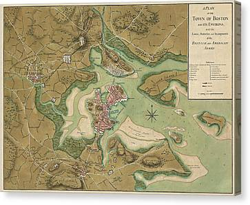Antique Map Of Boston Massachusetts By Thomas Hyde Page - 1776 Canvas Print