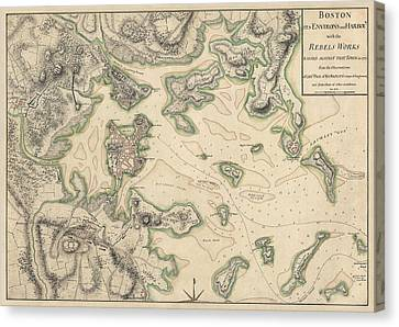 Antique Map Of Boston Massachusetts By Thomas Hyde Page - Circa 1775 Canvas Print by Blue Monocle