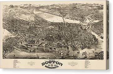 Antique Map Of Boston Masschusetts By H.h. Rowley And Co. - 1880 Canvas Print
