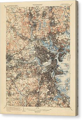Antique Map Of Boston - Usgs Topographic Map - 1903 Canvas Print