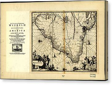 Antique Map Of Brazil 1671 Canvas Print by Celestial Images