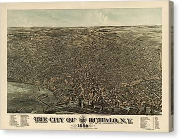Antique Map Of Buffalo New York By Edward Howard Hutchinson - 1880 Canvas Print by Blue Monocle