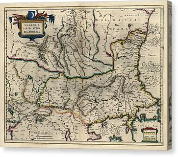 Romania Canvas Print - Antique Map Of Bulgaria Romania And Serbia By Willem Janszoon Blaeu - 1647 by Blue Monocle