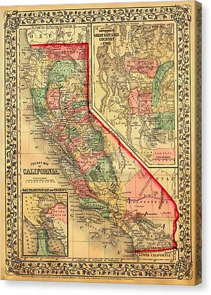 Antique Map Of California 1867 Canvas Print by Mountain Dreams
