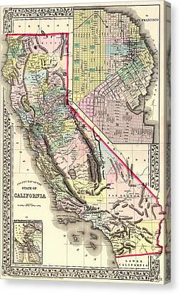 Antique Map Of California And San Francisco 1772 Canvas Print