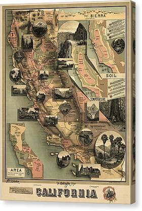 Antique Map Of California By E. Mcd. Johnstone - 1888 Canvas Print by Blue Monocle