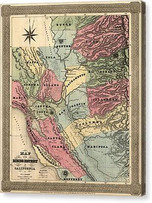 Antique Map Of California By William A. Jackson - 1851 Canvas Print by Blue Monocle