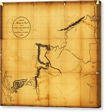 Antique Map Of  Canada  Western 1801 Canvas Print by Celestial Images