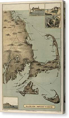 Antique Map Of Cape Cod Massachusetts By J. H. Wheeler - 1885 Canvas Print