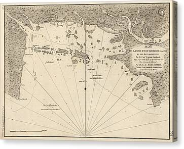 Antique Map Of Casco Bay And Portland Maine By Cyprian Southack - 1779 Canvas Print by Blue Monocle