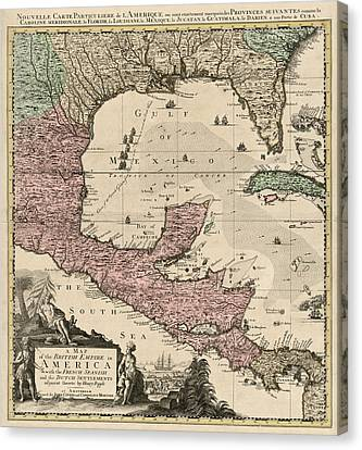 Antique Map Of Central America By Henry Popple - Circa 1733 Canvas Print by Blue Monocle