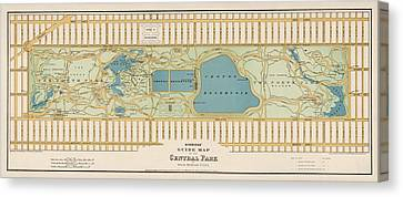 Antique Map Of Central Park New York City By Oscar Hinrichs - 1875 Canvas Print