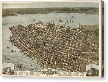 Antique Map Of Charleston South Carolina By C. N. Drie - 1872 Canvas Print by Blue Monocle