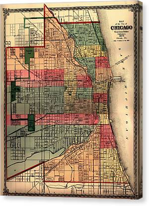 Chicago Canvas Print - Antique Map Of Chicago 1875 by Mountain Dreams