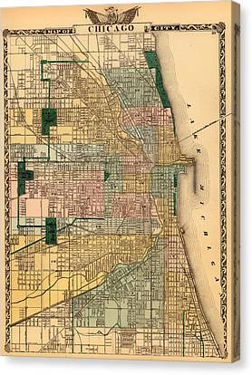 Antique Map Of Chicago 1876 Canvas Print by Mountain Dreams