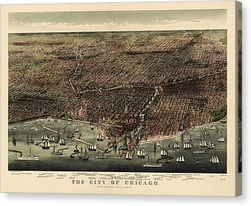 View. Chicago Canvas Print - Antique Map Of Chicago By Currier And Ives - 1892 by Blue Monocle