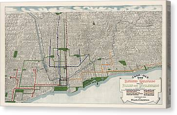 Antique Map Of Chicago By Willis J. Champion - 1908 Canvas Print by Blue Monocle