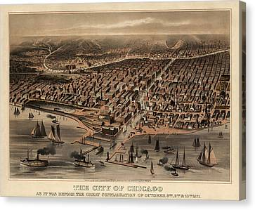 Old Canvas Print - Antique Map Of Chicago Illinois As It Appeared In 1871 Before The Fire by Blue Monocle