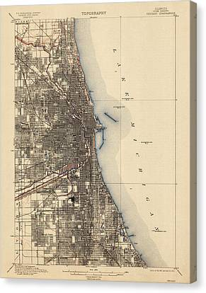 Antique Map Of Chicago - Usgs Topographic Map - 1901 Canvas Print by Blue Monocle