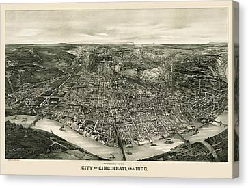 Antique Map Of Cincinnati Ohio By John L. Trout - 1900 Canvas Print