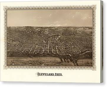Antique Map Of Cleveland Ohio 1887 Canvas Print