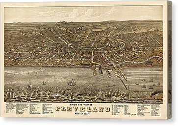 Antique Map Of Cleveland Ohio By A. Ruger - 1877 Canvas Print by Blue Monocle