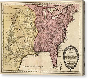 Antique Map Of Colonial America By Jacques Nicolas Bellin - 1750 Canvas Print