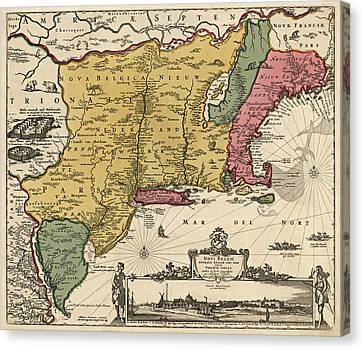 Antique Map Of Colonial America By Nicolaes Visscher - 1685 Canvas Print by Blue Monocle