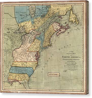 Old Canvas Print - Antique Map Of Colonial America By Peter Bell - 1771 by Blue Monocle