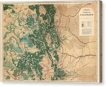 Old Canvas Print - Antique Map Of Colorado - 1877 by Blue Monocle