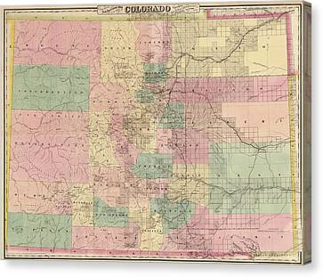 Canvas Print featuring the drawing Antique Map Of Colorado By G.w. And C.b. Colton And Co. - 1878 by Blue Monocle