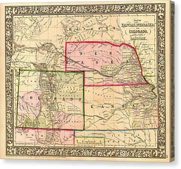 Antique Map Of Colorado Nebraska And Kansas 1860 Canvas Print by Mountain Dreams