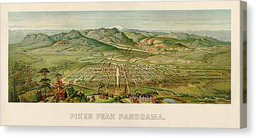 Antique Map Of Colorado Springs By H. Wellge - 1890 Canvas Print by Blue Monocle