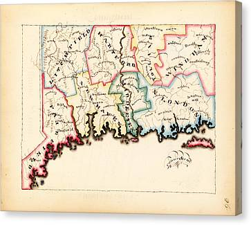 Nobody Canvas Print - Antique Map Of Connecticut  by Celestial Images