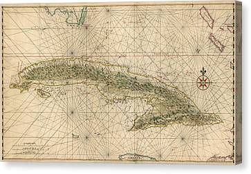 Antique Map Of Cuba By Joan Vinckeboons - Circa 1639 Canvas Print by Blue Monocle