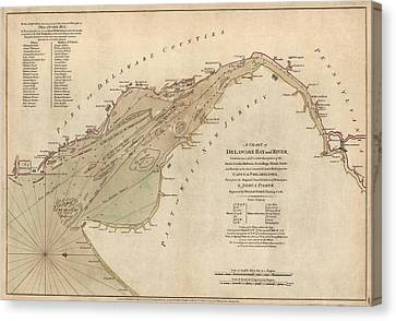 Antique Map Of Delaware Bay By William Faden - 1776 Canvas Print