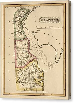 Old Canvas Print - Antique Map Of Delaware By Fielding Lucas - Circa 1817 by Blue Monocle