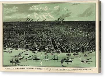 Birds Eye View Canvas Print - Antique Map Of Detroit Michigan - Circa 1889 by Blue Monocle