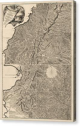 Pedro Canvas Print - Antique Map Of Ecuador By Pedro Vicente Maldonado - 1750 by Blue Monocle