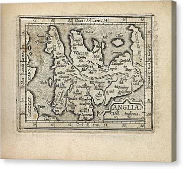 Antique Map Of England And Wales By Abraham Ortelius - 1603 Canvas Print by Blue Monocle