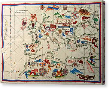 Antique Map Of Europa 1563 Canvas Print