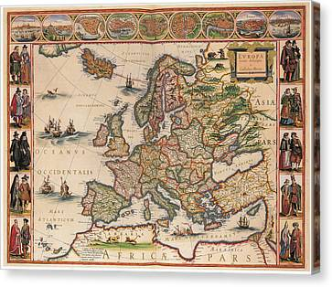 Antique Map Of Europa 1630 Canvas Print