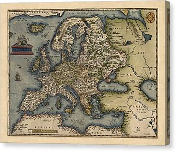 Antique Map Of Europe By Abraham Ortelius - 1570 Canvas Print by Blue Monocle