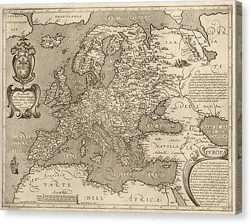 Antique Map Of Europe By Arnoldo Di Arnoldi - Circa 1600 Canvas Print by Blue Monocle