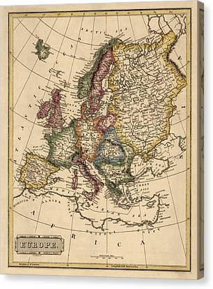 Antique Map Of Europe By Fielding Lucas - Circa 1817 Canvas Print by Blue Monocle