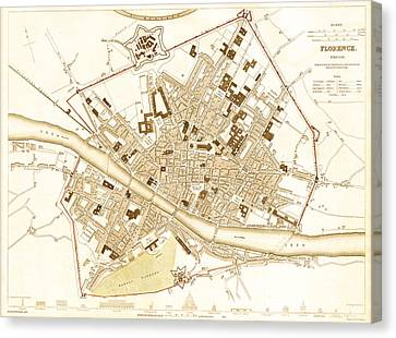 Antique Map Of Florence Italy 1835 Canvas Print by Mountain Dreams