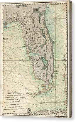 Antique Map Of Florida - 1780 Canvas Print by Blue Monocle