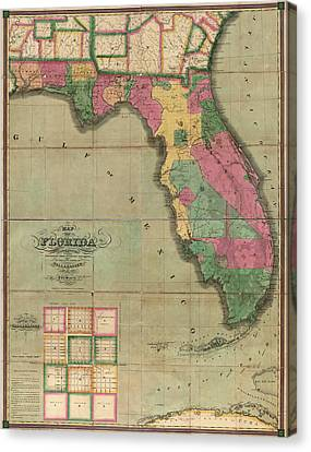 Antique Map Of Florida By I. G. Searcy - 1829 Canvas Print by Blue Monocle